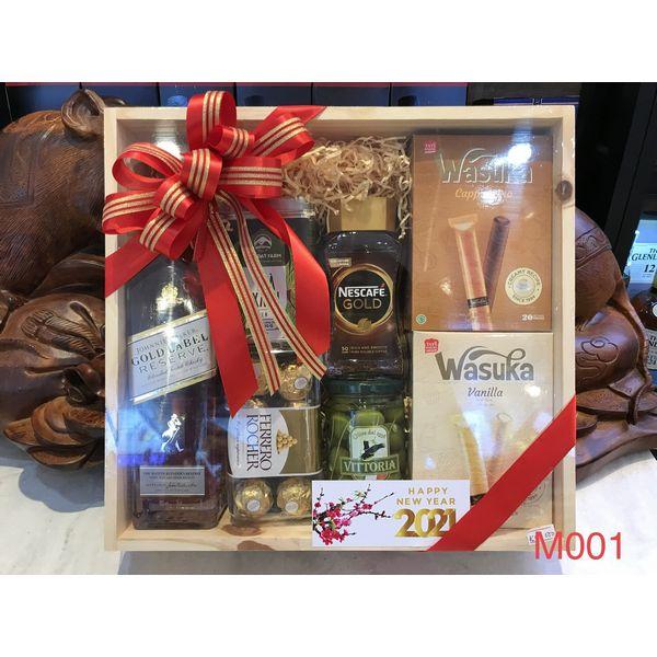 M001 - Hộp quà gỗ cao cấp Tết 2021, rượu Gold Labed cao cấp