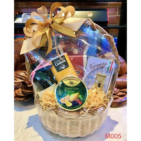 M005 - Giỏ quà đan lát thủ công cao cấp Tết 2021, rượu Vang cao cấp, hạt điều mật ong, kẹo Đức