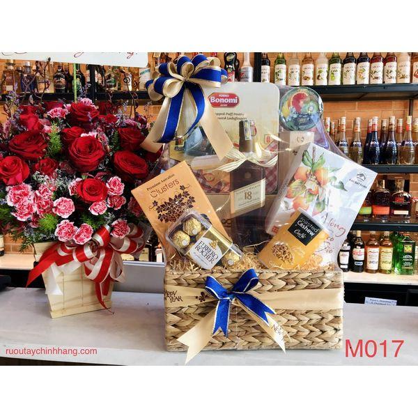 M017 - Giỏ quà đan lát thủ công cao cấp Tết 2021, rượu Johnny Walker 18 cao cấp