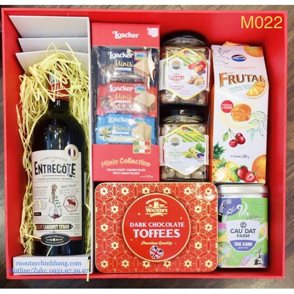 M022 - Hộp quà cao cấp Tết 2021, rượu Vang Entrecote cao cấp