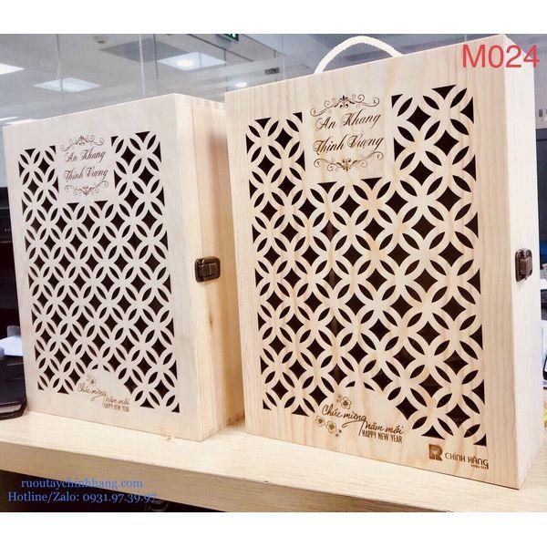 M024 - Hộp quà gỗ cao cấp Tết 2021, rượu Red Labed cao cấp  - hình mô tả 2