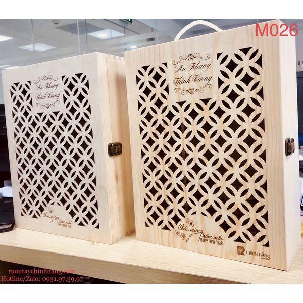 M026 - Hộp quà gỗ cao cấp Tết 2021, rượu Vang Jacobs Creek cao cấp  - hình mô tả 2